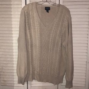 Chaps Plus Size Cable Knit Metallic Sweater